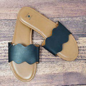 Shade & Shore Kate Scalloped Slide Sandal Size 9